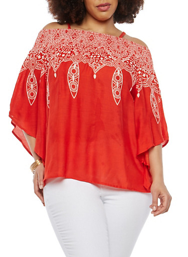 Plus Size Printed Off the Shoulder Top,WHITE/RED,large