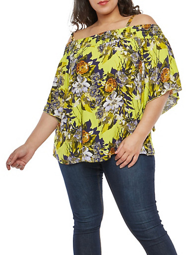 Plus Size Floral Off the Shoulder Top,YELLOW,large