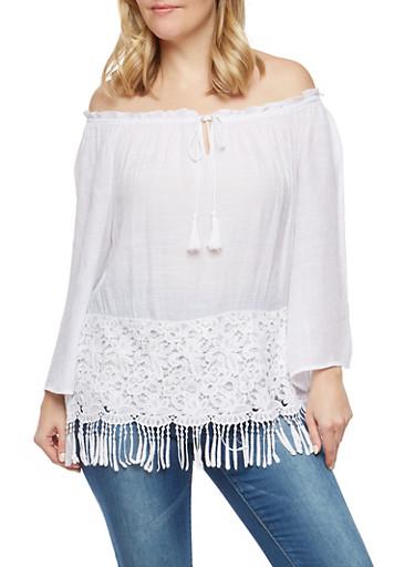 Plus Size Crochet Fringe Trim Off the Shoulder Top,WHITE,large
