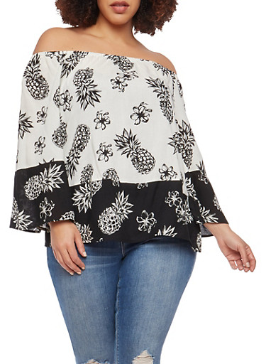 Plus Size Pineapple Print Off the Shoulder Top,WHITE,large