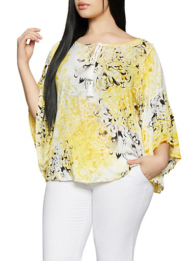 Plus Size Floral Bell Sleeve Top,YELLOW,large