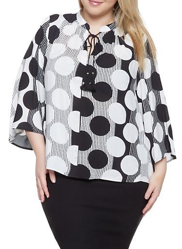 Plus Size Polka Dot Striped Top,BLACK/WHITE,large
