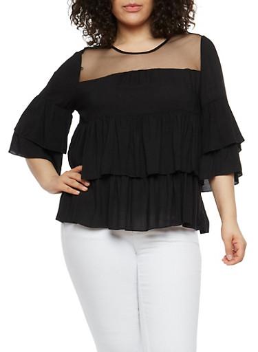 Plus Size Mesh Yoke Tiered Top,BLACK,large