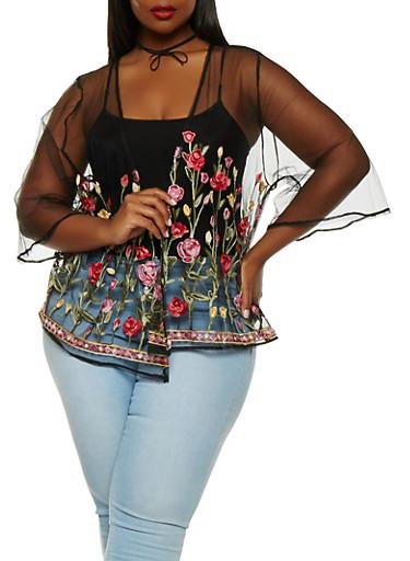 Plus Size Embroidered Mesh Kimono,BLACK,large