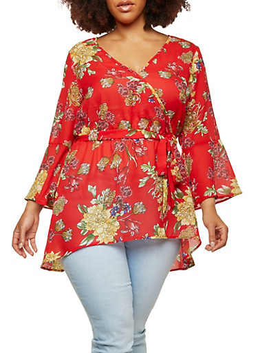 Plus Size Sheer Floral Faux Wrap High Low Top,RED,large