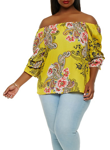 Plus Size Paisley Off the Shoulder Top,YELLOW,large