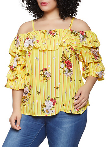 Plus Size Striped Floral Off the Shoulder Top,YELLOW,large