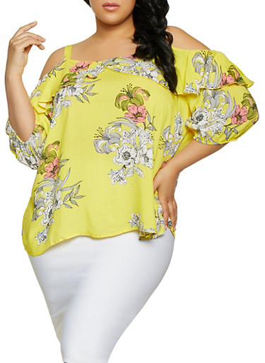 89aa8836695a7e Plus Size Cold Shoulder Floral Top