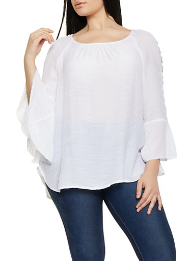Plus Size Caged Bell Sleeve Blouse,WHITE,large