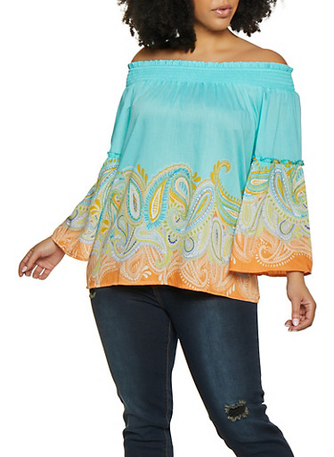 Plus Size Off the Shoulder Paisley Border Print Top | 1803056125062,BABY BLUE,large