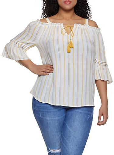 Plus Size Vertical Stripe Cold Shoulder Tie Front Top,WHITE,large
