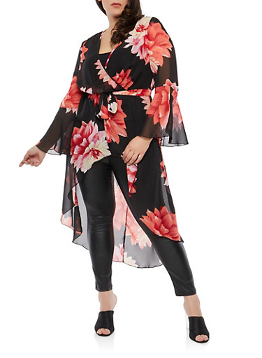 Plus Size Floral Chiffon Belted High Low Top,BLACK  BIG FLORAL 11080,large