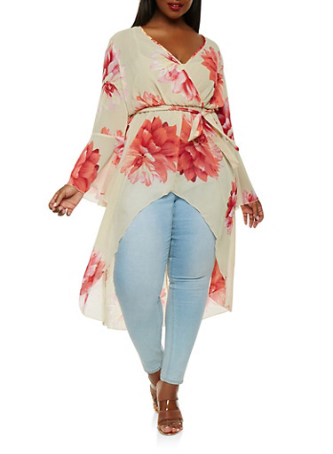 Plus Size Faux Wrap High Low Top | Tuggl