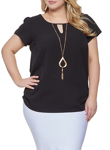 Plus Size Solid Keyhole Top with Necklace,BLACK,large