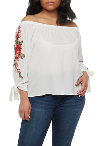 Plus Size Rose Patch Off the Shoulder Top,WHITE,large