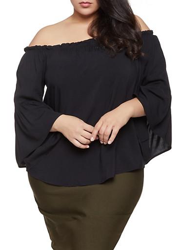 Plus Size Off the Shoulder Bell Sleeve Top,BLACK,large
