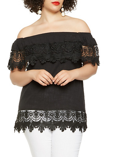 Plus Size Off the Shoulder Crochet Trim Top | Tuggl