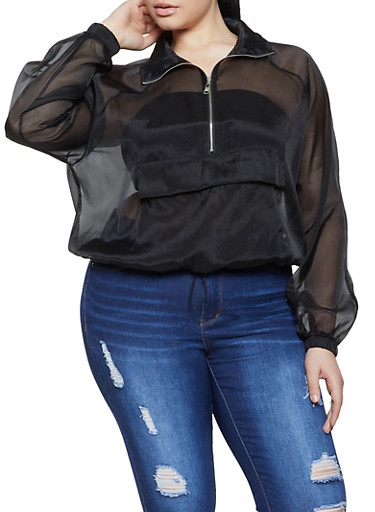 Plus Size Organza Half Zip Top,BLACK,large