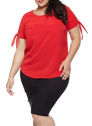 Plus Size Short Tie Sleeve Blouse,RED,large