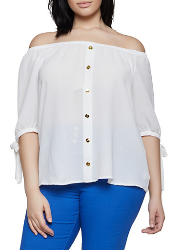 Plus Size Crepe Knit Off the Shoulder Top | 1803058751015,WHITE,large