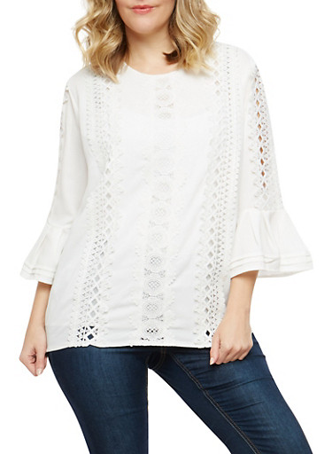 Plus Size Crochet Detail Bell Sleeve Blouse,WHITE,large