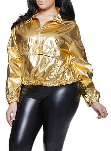 Plus Size Coated Metallic Top,GOLD,large
