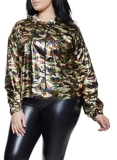 Plus Size Coated Camo Hooded Top,BLACK,large