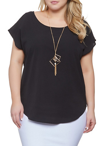 Plus Size Scoop Neck Top with Necklace,BLACK,large