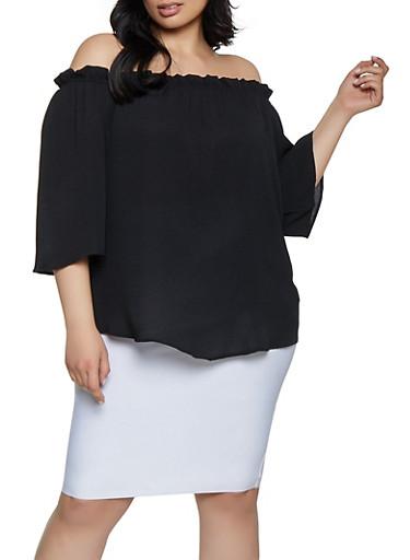Plus Size Ruffles Crepe Knit Off the Shoulder,BLACK,large