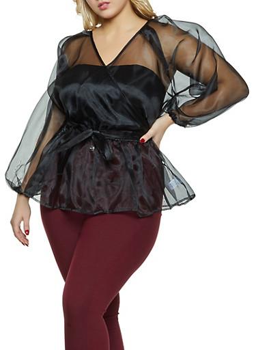Plus Size Organza Faux Wrap Top,BLACK,large