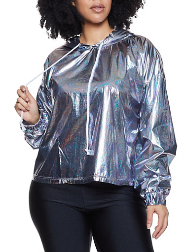 Plus Size Coated Oil Slick Hooded Top,SILVER,large