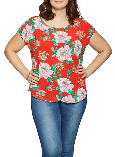 Plus Size Floral Crepe Knit Top,RED,large