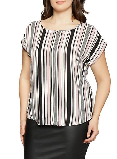 Plus Size Striped Crepe Knit Top,BLACK,large