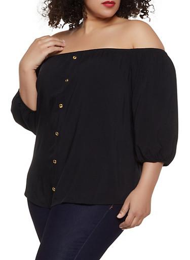Plus Size Faux Button Off the Shoulder Top,BLACK,large