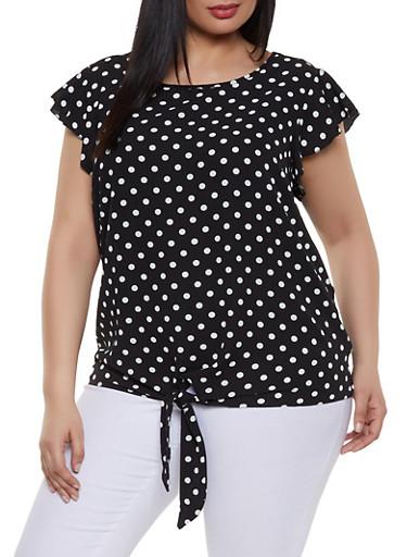 Plus Size Polka Dot Crepe Knit Top,BLACK,large