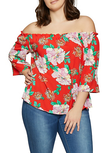 Plus Size Floral Off the Shoulder Top | 1803058754082,RED,large