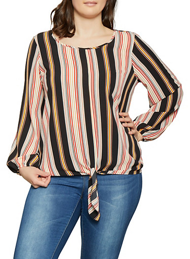 Plus Size Striped Tie Front Top,BLACK,large