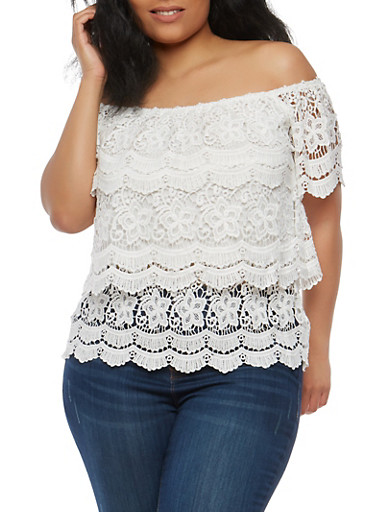 Plus Size Tiered Crochet Off the Shoulder Top,WHITE,large