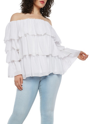 Plus Size Tiered Off the Shoulder Top,WHITE,large