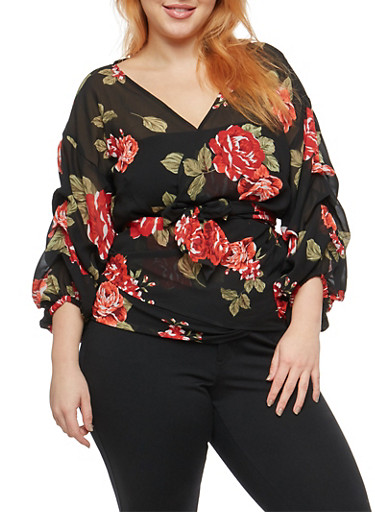 Plus Size Rose Print Ruched Sleeve Wrap Top,BLACK/RED,large