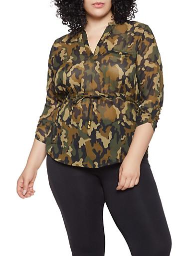 Plus Size Camo Tunic Blouse,BROWN,large