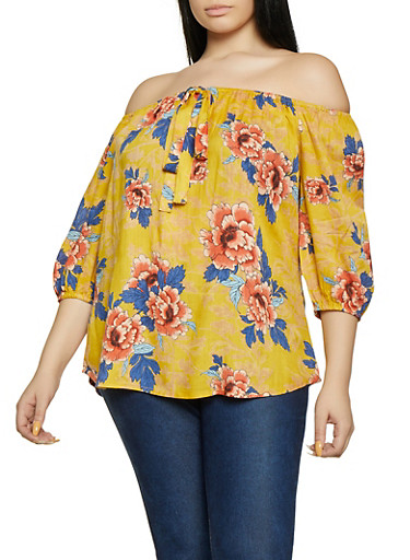 Plus Size Faux Tie Off the Shoulder Top,MUSTARD,large