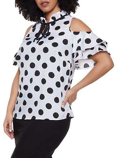 Plus Size Polka Dot Tiered Cold Shoulder Top,BLACK/WHITE,large