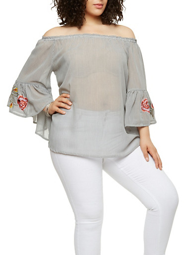 Plus Size Embroidered Sleeve Off the Shoulder Top,GRAY,large