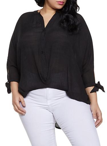 Plus Size High Low Tie Sleeve Shirt,BLACK,large