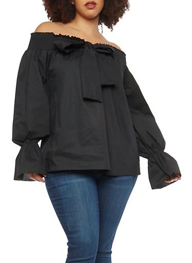 Plus Size Bow Tie Off the Shoulder Top,BLACK,large