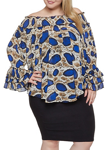 Plus Size Printed Off the Shoulder Top,RYL BLUE,large