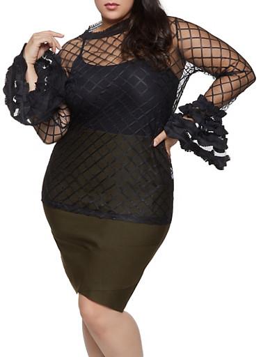 Plus Size Printed Mesh Bell Sleeve Top,BLACK,large