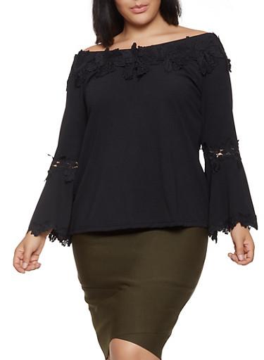 Plus Size Crochet Trim Off the Shoulder Top,BLACK,large