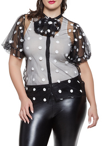 Plus Size Polka Dot Embroidered Tulle Shirt,BLACK,large